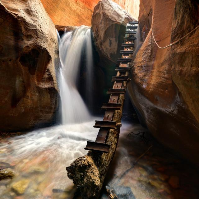 """""""Kanarra Creek Canyon Falls"""" stock image"""
