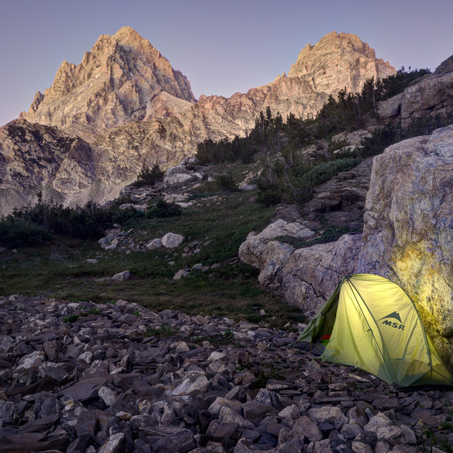 """Camping in the Grand Tetons"" stock image"