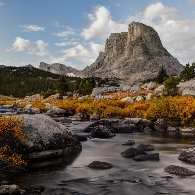 """""""Buffalo Head and the Little Wind River"""" stock image"""
