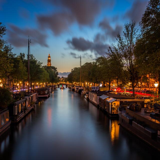 """Amsterdam at night"" stock image"