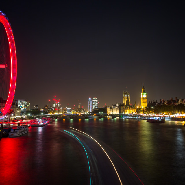 """London Eye at night"" stock image"