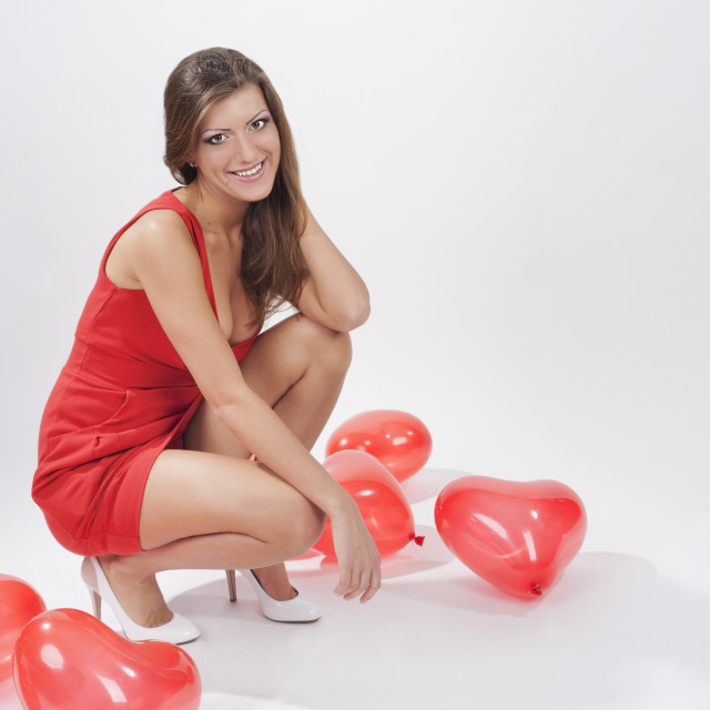 """""""Woman with red ballloons"""" stock image"""