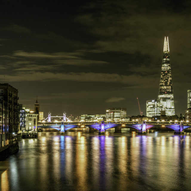 """Thames Nightscape 1"" stock image"
