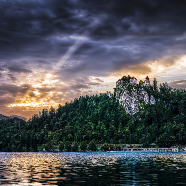 """The lake and the castle"" stock image"