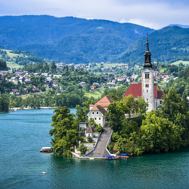 """Lake Bled view"" stock image"