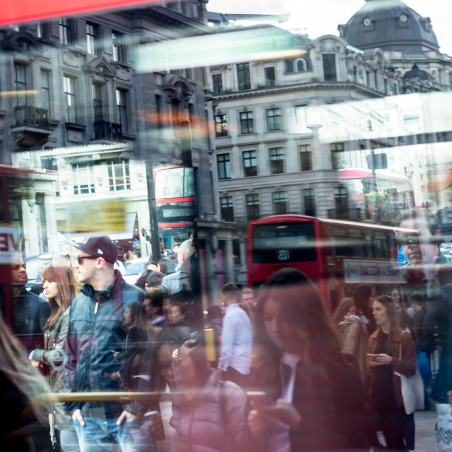 """London Bus window reflection"" stock image"