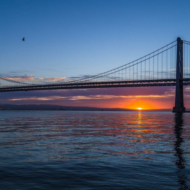 """Sunrise view of the Bay Bridge"" stock image"