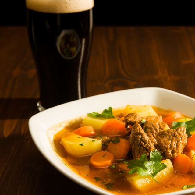 """""""Traditional Irish Stew and a pint of beer"""" stock image"""
