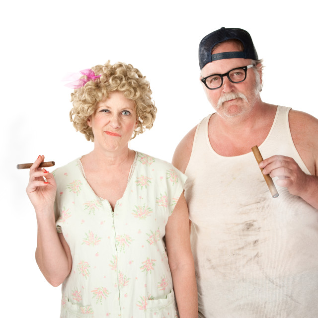 """Homely couple on white background"" stock image"