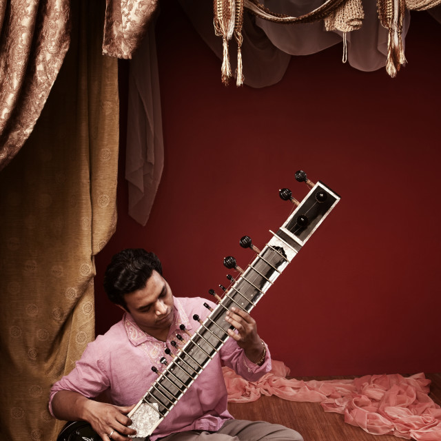 """Young Sitar Musician"" stock image"