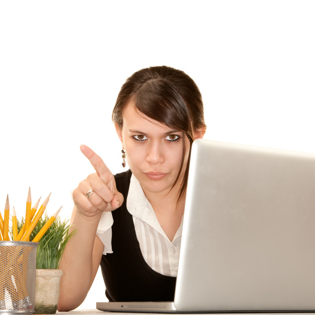 """""""Pretty female office worker with laptop computer"""" stock image"""