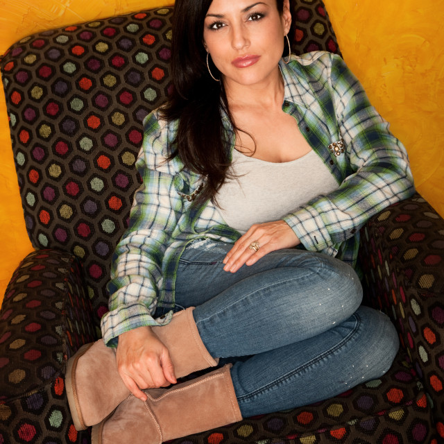 """""""Pretty Latina Woman in Casual Clothes with Plaid Shirt"""" stock image"""