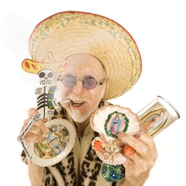 """Man selling kitsch tourist items"" stock image"