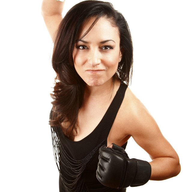 """""""Pretty Latina Woman with Boxing Gloves"""" stock image"""