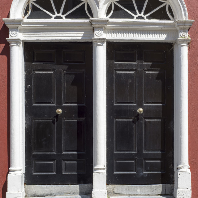 """""""two arched georgian doors"""" stock image"""