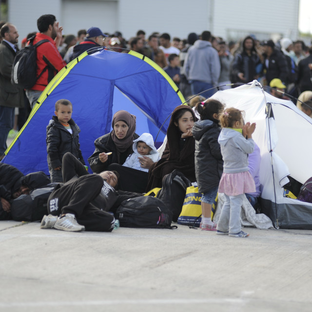 """Refugees on the old Austrian border crossing Nickelsdorf"" stock image"