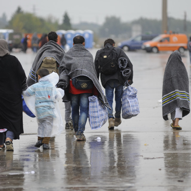 """""""Refugees on the old Austrian border crossing Nickelsdorf"""" stock image"""