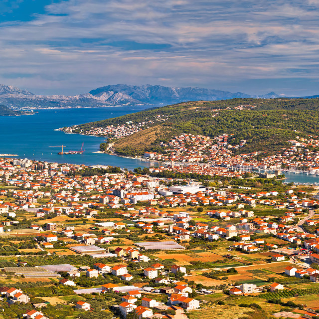 """Panoramic view of Trogir from above"" stock image"