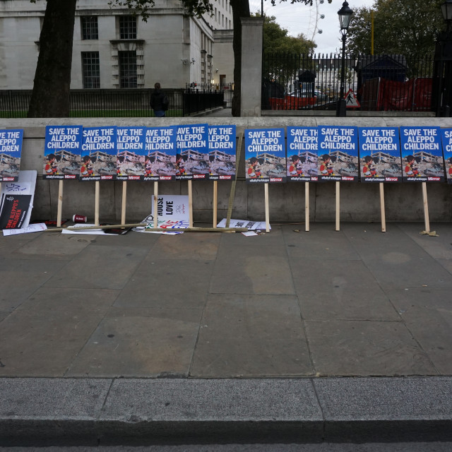 """""""Rally for Aleppo opposite Downing Street, London, UK"""" stock image"""