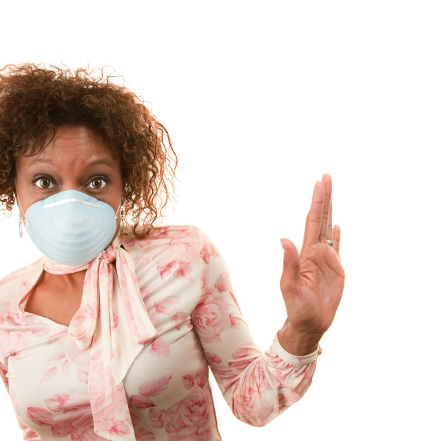 """Woman with breathing mask"" stock image"