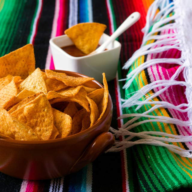 """Nachos chips in an earthenware bowl"" stock image"