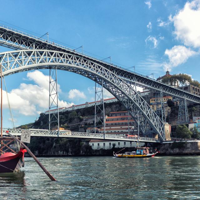 """Boats and a Bridge"" stock image"