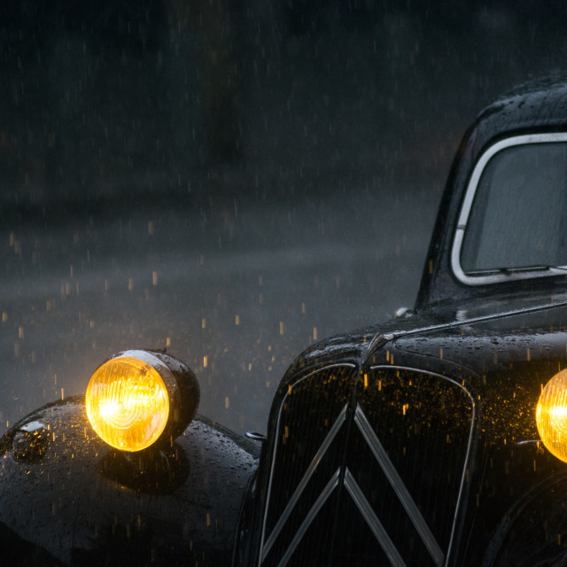 """Old car under the rain"" stock image"