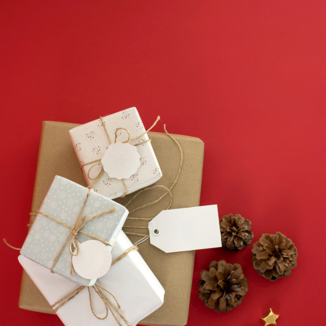 """""""Concept sale gift box top view tag label template"""" stock image"""