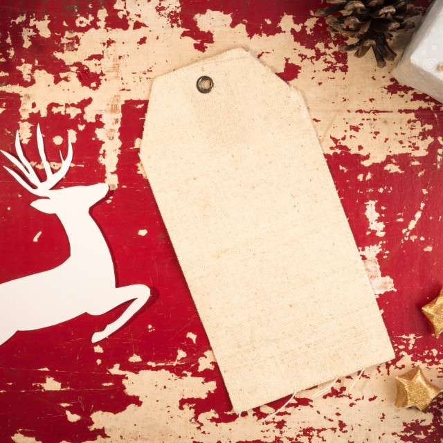 """""""Christmas label top view vintage template backdrop"""" stock image"""