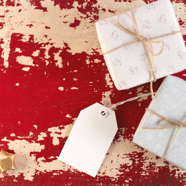 """""""Christmas concept label template gift box"""" stock image"""