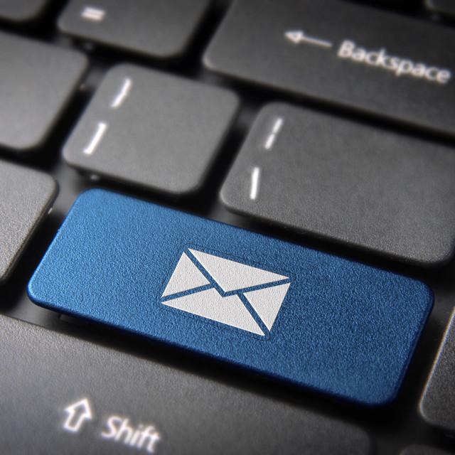 """Blue keyboard key Contact us, web business background"" stock image"