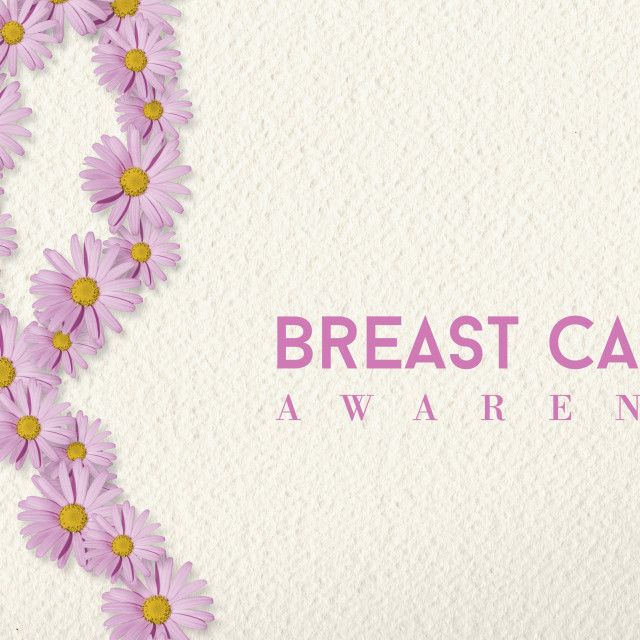 """""""Breast cancer awareness banner with flower ribbon"""" stock image"""