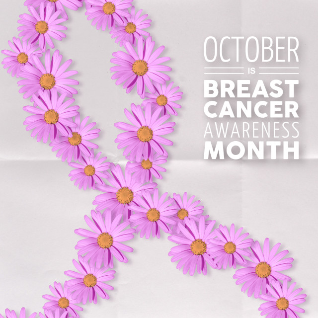 """Breast cancer awareness pink flower ribbon art"" stock image"