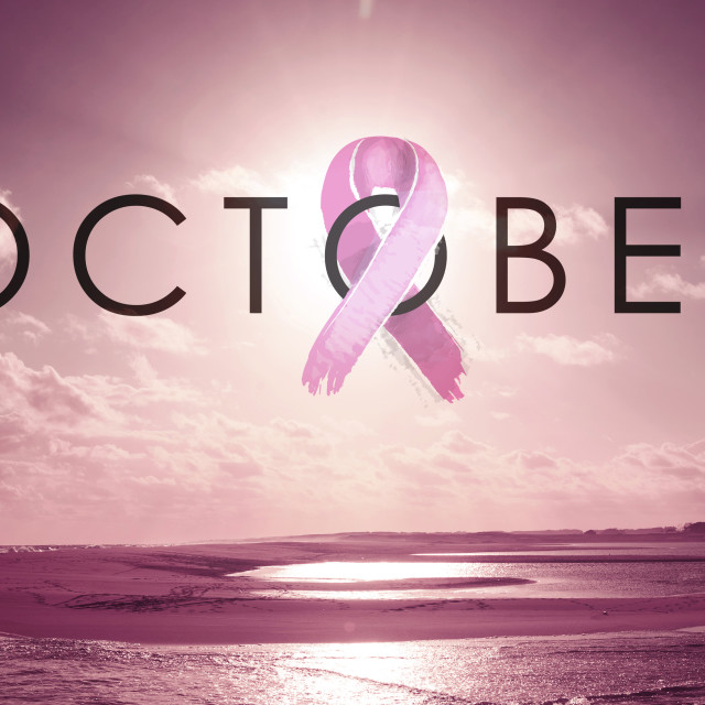 """""""Breast cancer month design with sunset beach landscape"""" stock image"""