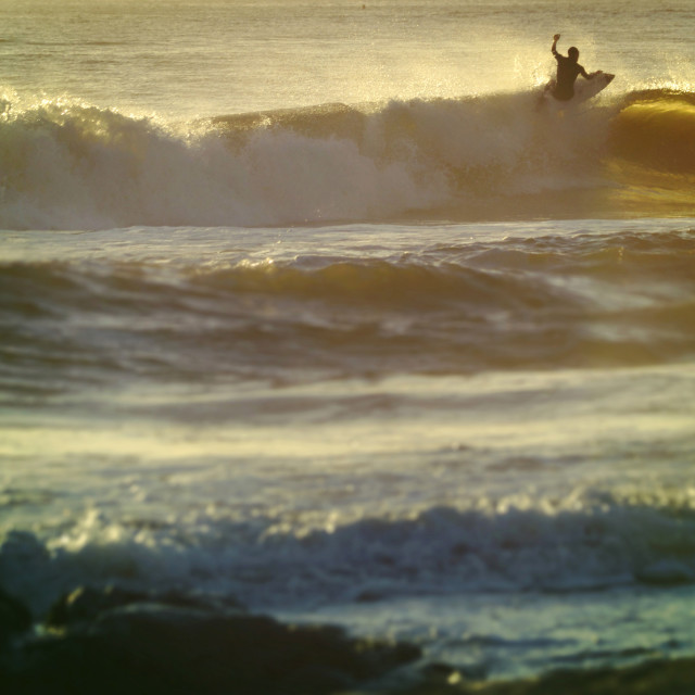 """""""Vintage summer shorebreak wave surfing"""" stock image"""