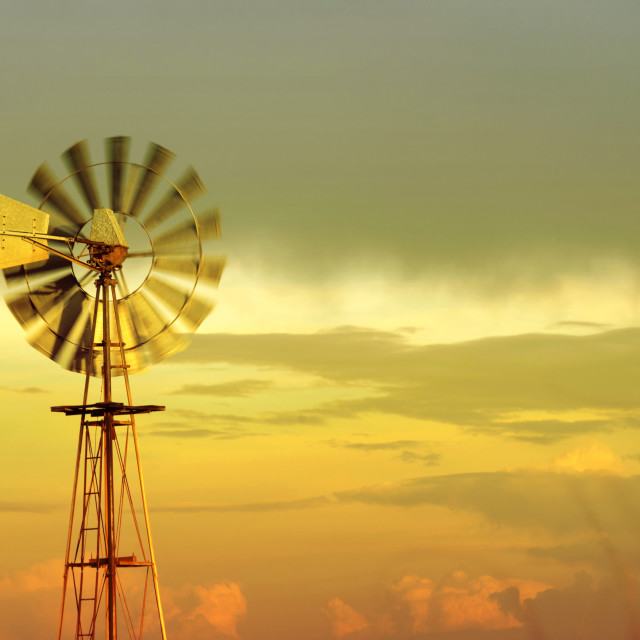 """""""Wind mill old eco friendly sky background"""" stock image"""