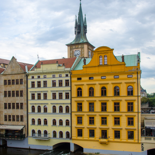"""Colourful buildings in Prague"" stock image"