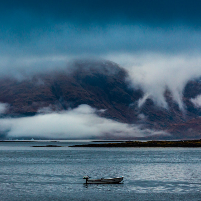 """Lone boat Port Appin"" stock image"