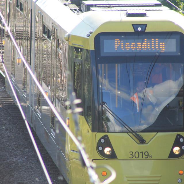 """Manchester Tram Line Vandalised"" stock image"