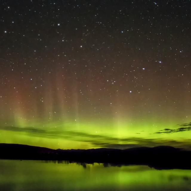 """Aurora Borealis over Lochan na h-Achlaise"" stock image"