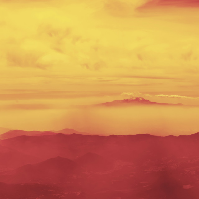"""""""Panoramic landscape view of red mountains"""" stock image"""