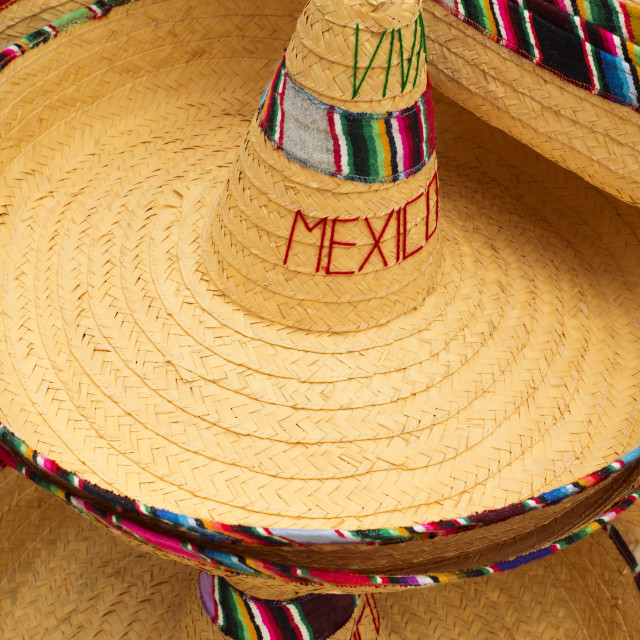 """""""Display of mexican hats with viva mexico text"""" stock image"""