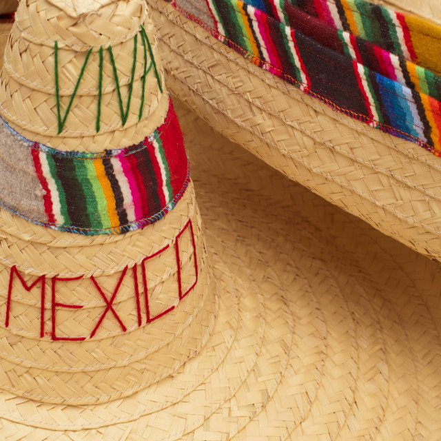 """""""Traditional mexican sombrero straw hat close up"""" stock image"""