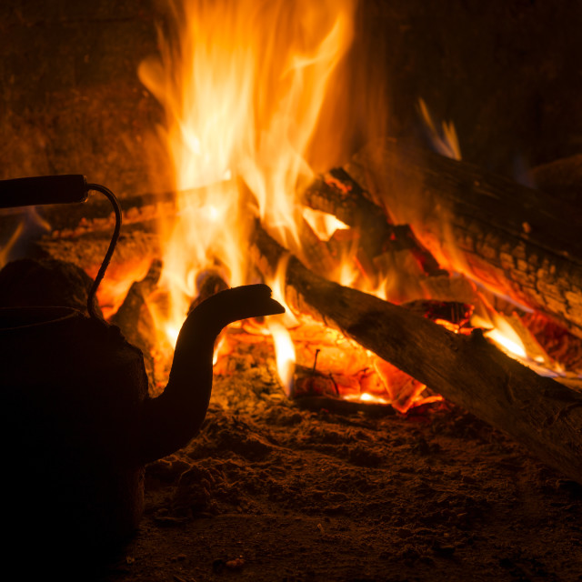 """""""Winter fire fireplace old house vintage concept"""" stock image"""