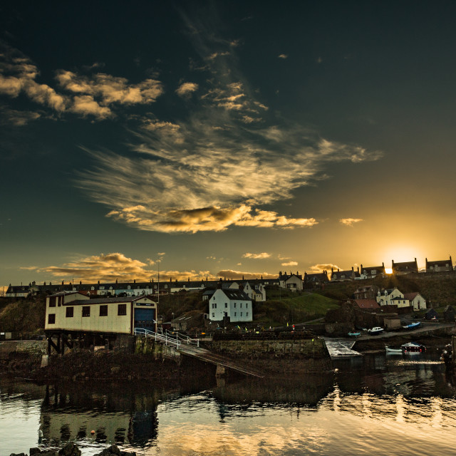 """St Abbs Harbour sunset"" stock image"