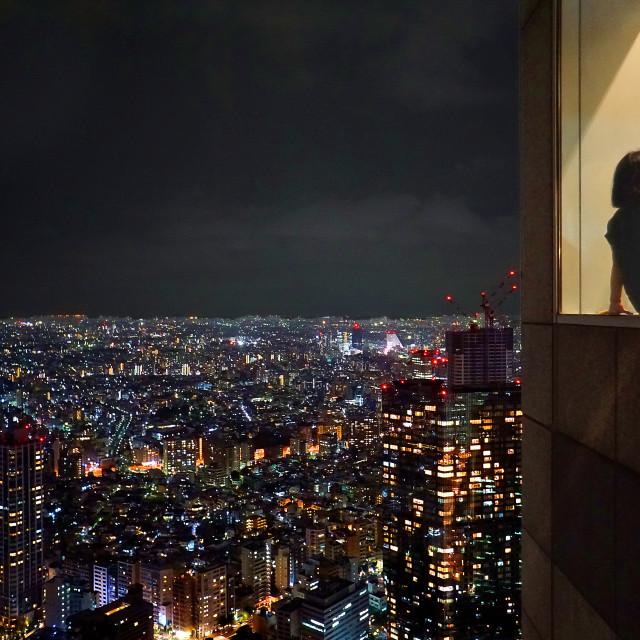 """Tokyo skyline at night"" stock image"
