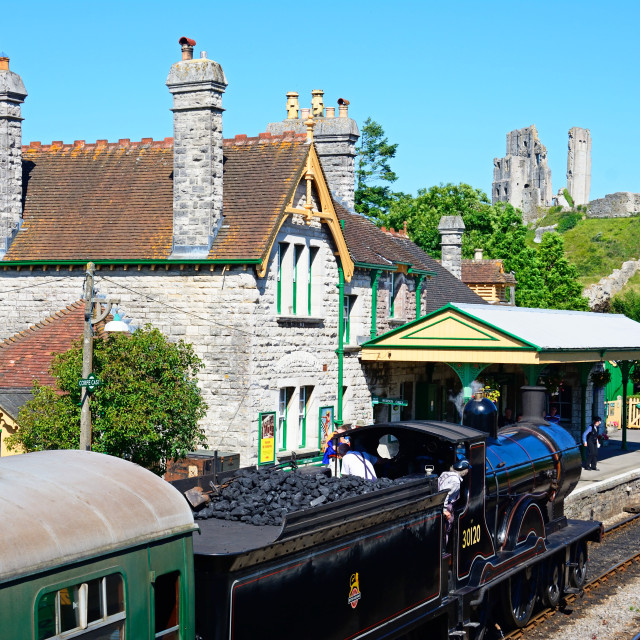 """LSWR T9 Class 4-4-0 steam train at Corfe railway station, Dorset, UK"" stock image"