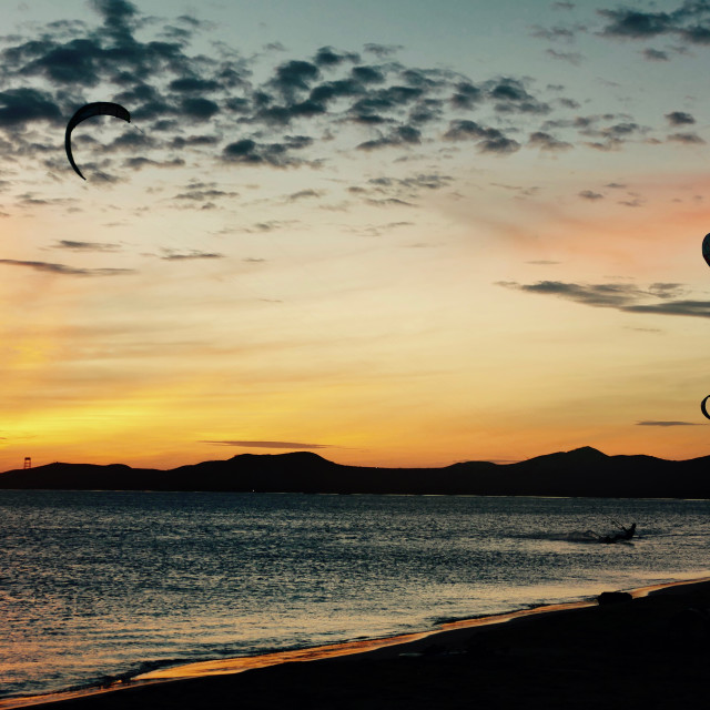 """Kitesurfers at Sunset 1"" stock image"