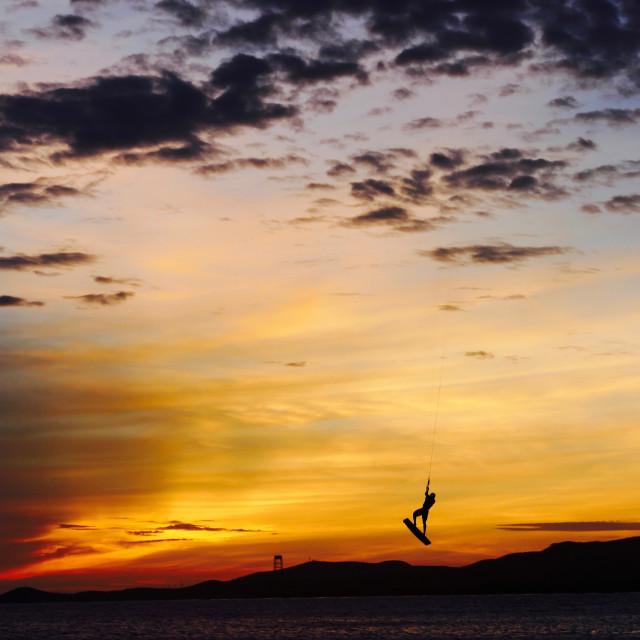 """Hangtime at Sunset"" stock image"