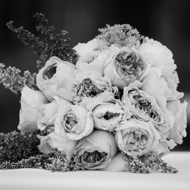 """Mono wedding bouquet"" stock image"